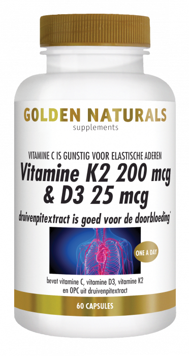 Vitamine K2 200 mcg & D3 25 mcg 60 vegetarische capsules