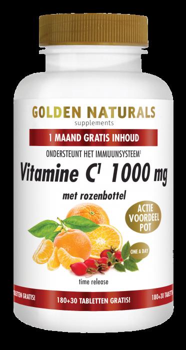 Vitamine C 1000 mg met rozenbottel 180 + 30 GRATIS veganistische tabletten