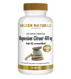 Golden Naturals Magnesium Citraat 400 mg 180 vegetarische tabletten