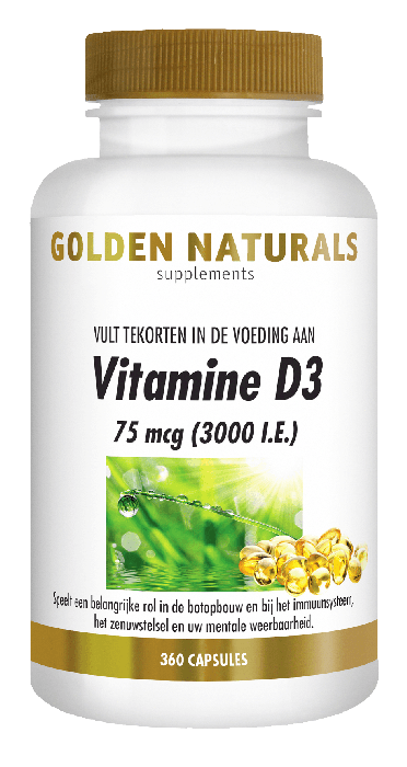 Golden Naturals Vitamine D3 75 mcg 3000 I.E. 360 softgel capsules