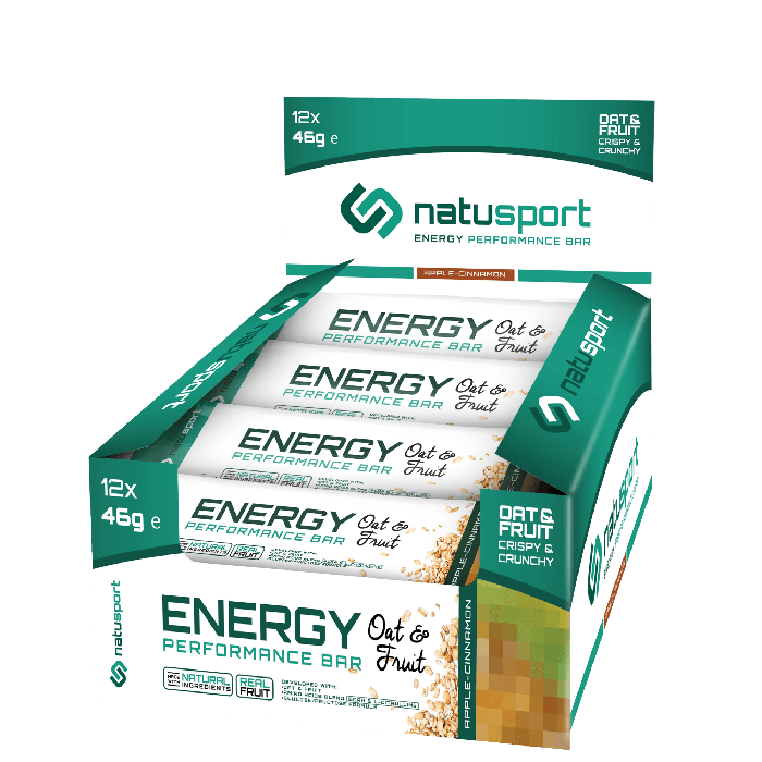 NatuSport Energy Performance Bar Oat&Fruit - Apple Cinnamon 12 x 46 gram