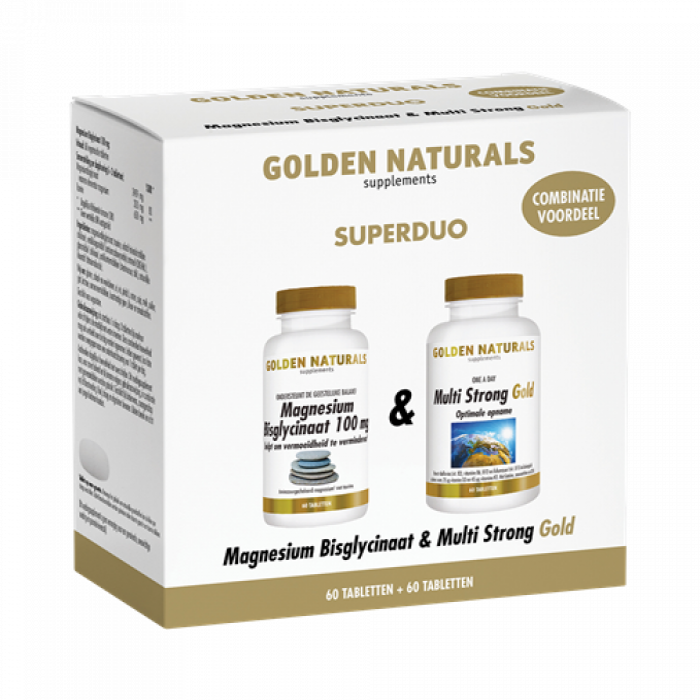 Golden Naturals Magnesium Bisglycinaat + Multi Strong Gold 1 duoset