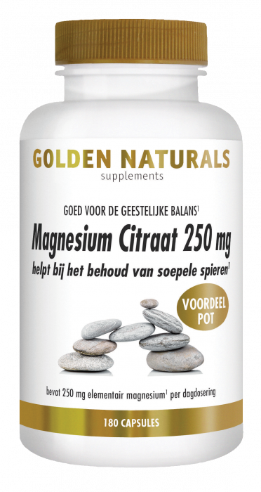 Golden Naturals Magnesium Citraat 250 mg 180 vegetarische capsules