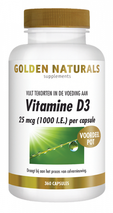 Golden Naturals Vitamine D3 25 mcg 1000 I.E. 360 softgel capsules