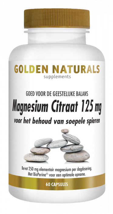 Golden Naturals Magnesium Citraat 125 mg 60 vegetarische capsules