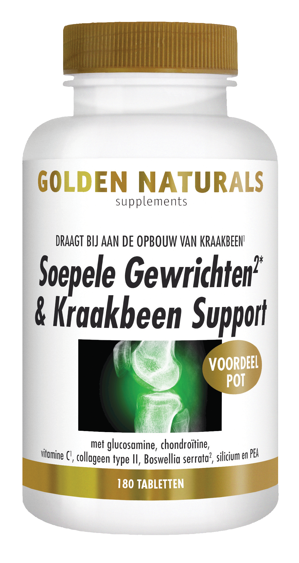 Golden Naturals Soepele Gewrichten & Kraakbeen Support (180 tabletten)