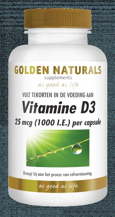Golden Naturals Vitamine D3 25 mcg. 1000 I.E. 120 softgel capsules