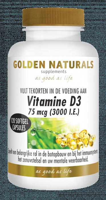 Golden Naturals Vitamine D3 75 mcg 120 softgel capsules