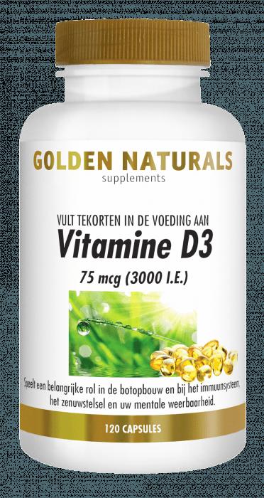 Golden Naturals Vitamine D3 75 mcg 3000 I.E. 120 softgel capsules