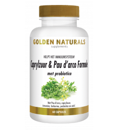 Golden Naturals Caprylzuur & Pau d'arco Formule met probiotica 60 vegetarische capsules