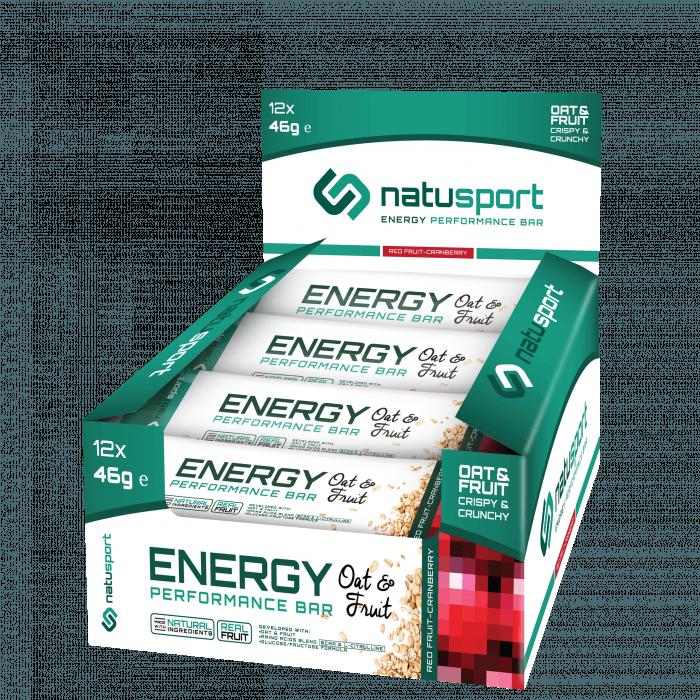 NatuSport Energy Performance Bar Oat&Fruit - Red Fruit Cranberry 12 x 46 gram