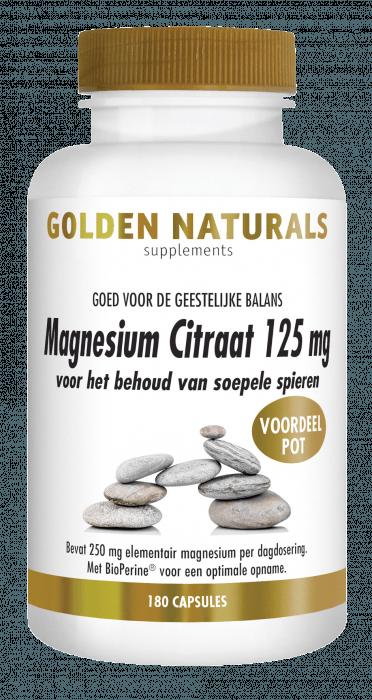 Golden Naturals Magnesium Citraat 125 mg 180 vegetarische capsules