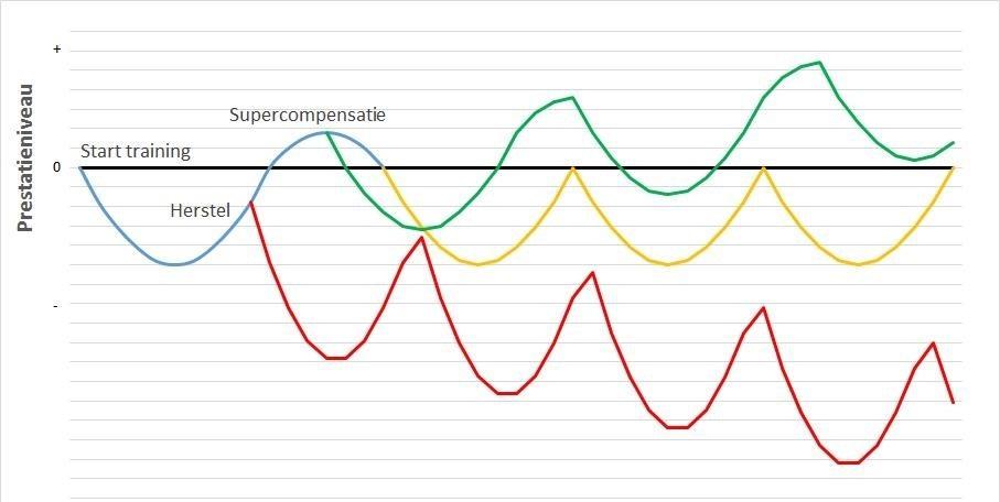 Grafiek Prestatieniveau - Supercompensatie